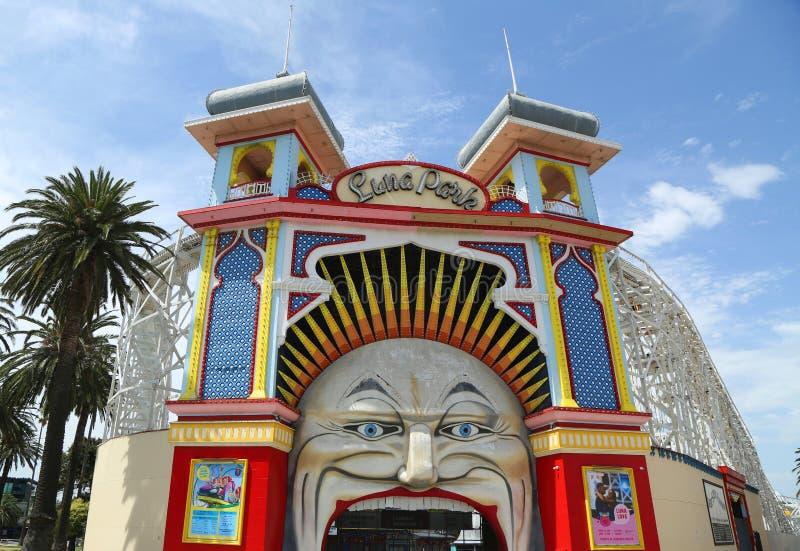Main Gate of Luna Park, Melbourne stock image