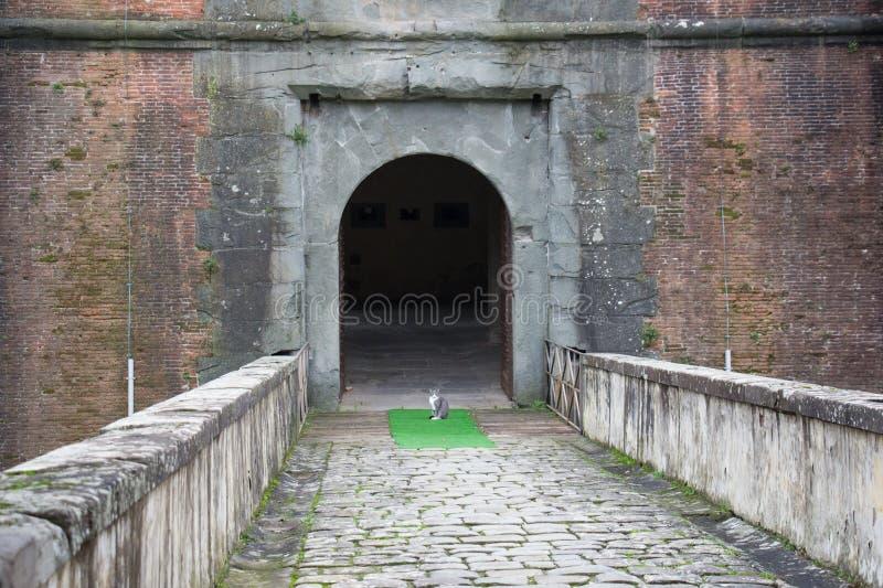 The main gate of the Medici Fortress of Santa Barbara. Pistoia. Tuscany. Italy. stock photography
