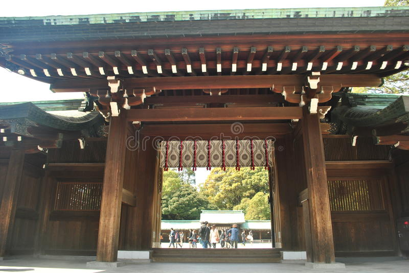 Main gate at Meiji Jingu Shrine, Tokyo, Japan stock photo