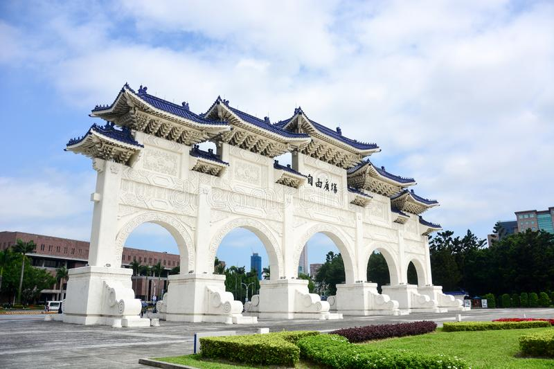 The main gate of national Taiwan democracy memorial hall Chiang Kai-Shek memorial Hall in sunny day with blue sky stock photography