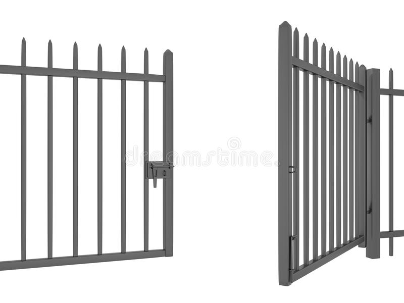 Main gate when no lock. This raster is when main gate no lock can open on white color background stock illustration