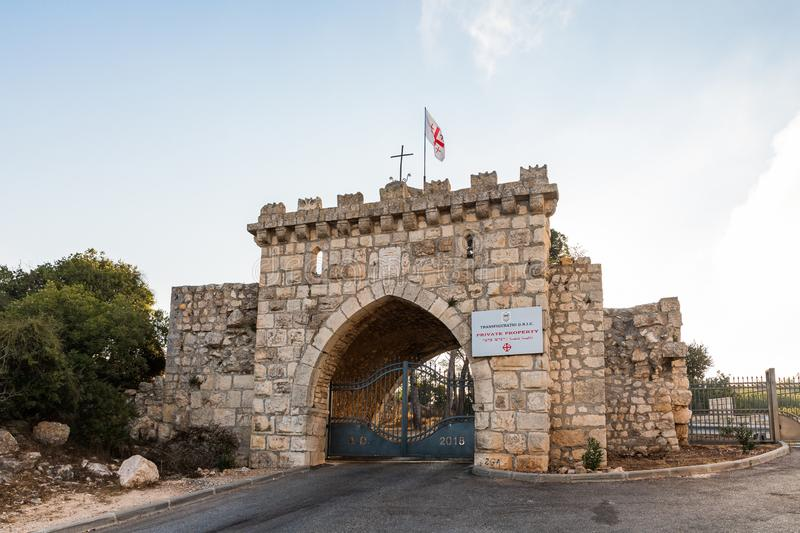 The main gate to the Christian Temple of the Transfiguration located on Mount Tavor near Nazareth in Israel. Nazareth, Israel, August 31, 2019 : The main gate to stock photo
