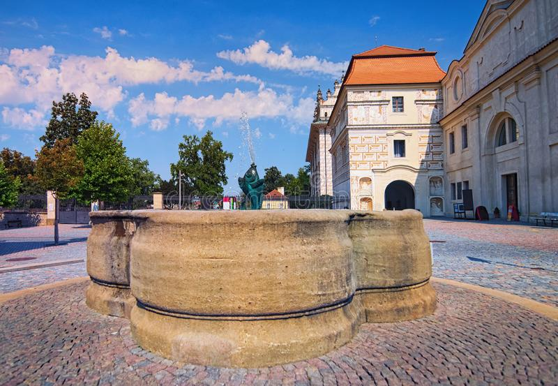 Main gate to the Litomysl Castle. One of the largest Renaissance castles in the Czech Republic. A UNESCO World Heritage Site. Sgraffito painting in the walls stock image