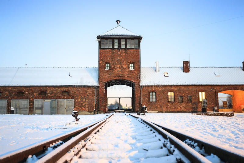 Main gate to nazi concentration camp of Auschwitz Birkenau. Main gate to concentration camp of Auschwitz Birkenau, Poland royalty free stock images