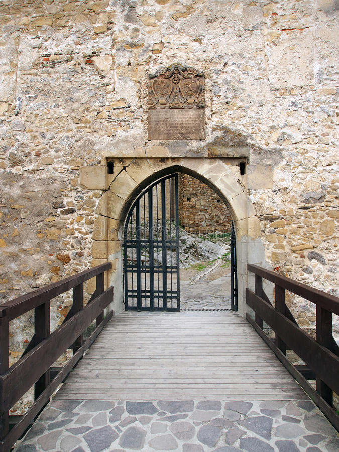 Main gate of the Trencin castle, Slovakia royalty free stock photography