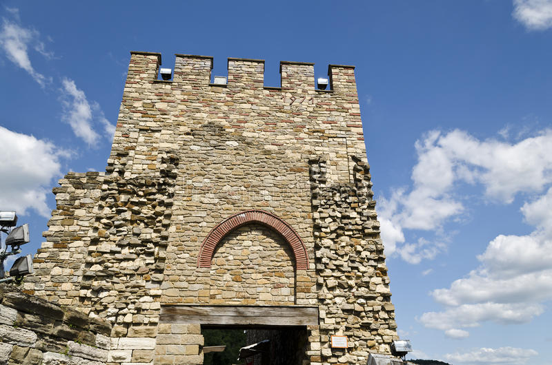 Main gate of Tsarevets fortress. Veliko Tarnovo, Bulgaria stock image