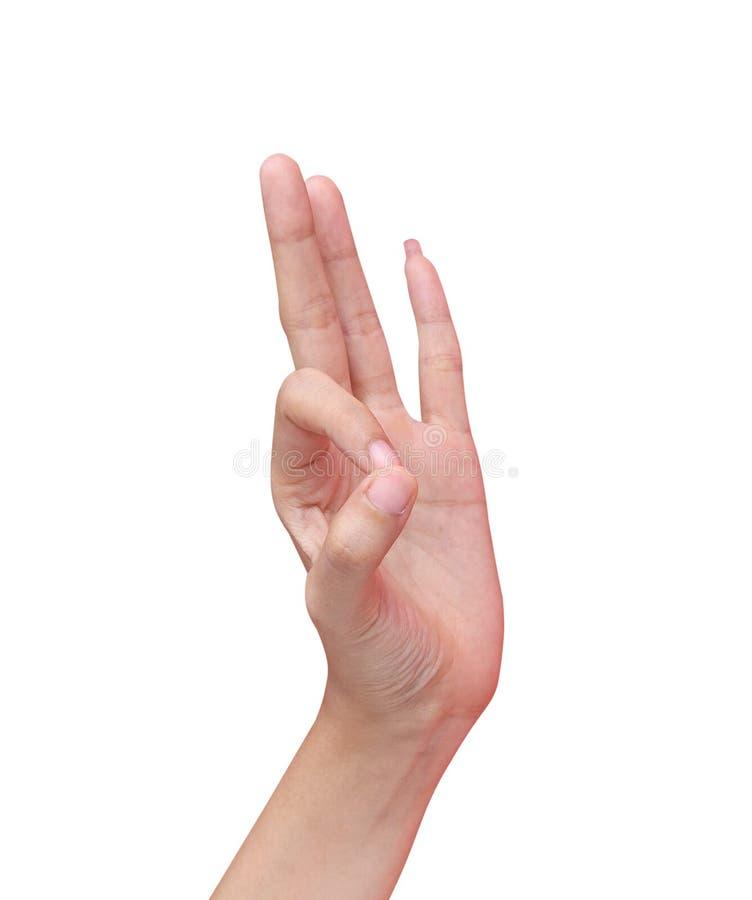 Main gauche de femme asiatique et de faire faire des gestes d'ok d'isolement sur le fond blanc avec le chemin de coupure photographie stock