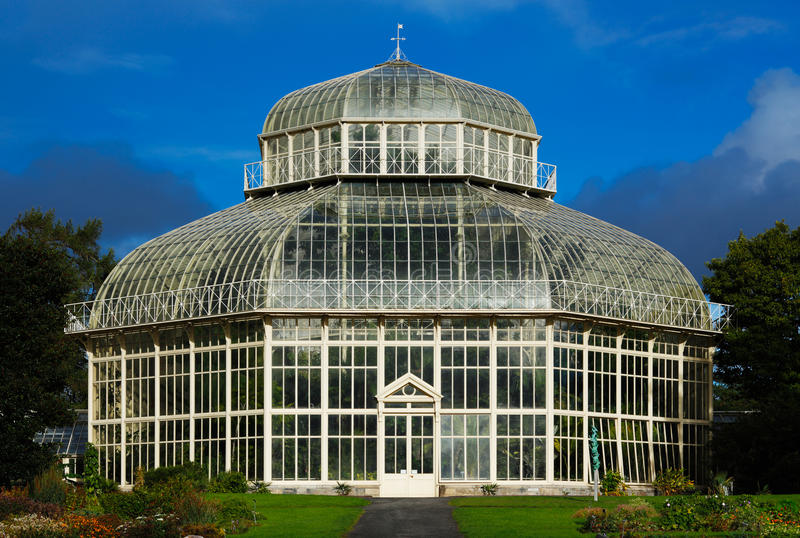Main glasshouse of The National Botanic Gardens in Dublin, Ireland. The main glasshouse of The National Botanic Gardens in Dublin, Ireland. Built in 1884 when royalty free stock image