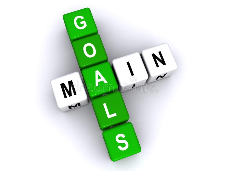Main goals. Text 'main goals' in uppercase letters on small cubes arranged crossword style with common letter 'a', white background. Concept of objectives in stock illustration