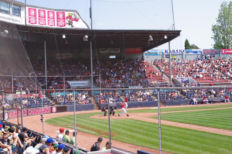Main grandstand of Nat Bailey baseball field. Main grandstand of Nat Bailey Stadium in Vancouver, home to the Vancouver Canadians of the Northwest minor league royalty free stock image