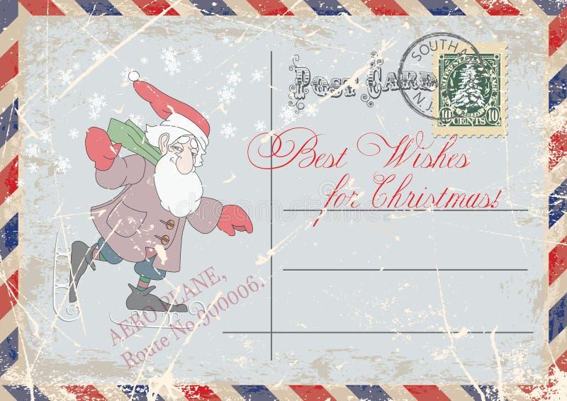 Main grunge de carte postale de vintage dessinant le patinage nain gai, saluant le Joyeux Noël Illustration illustration libre de droits