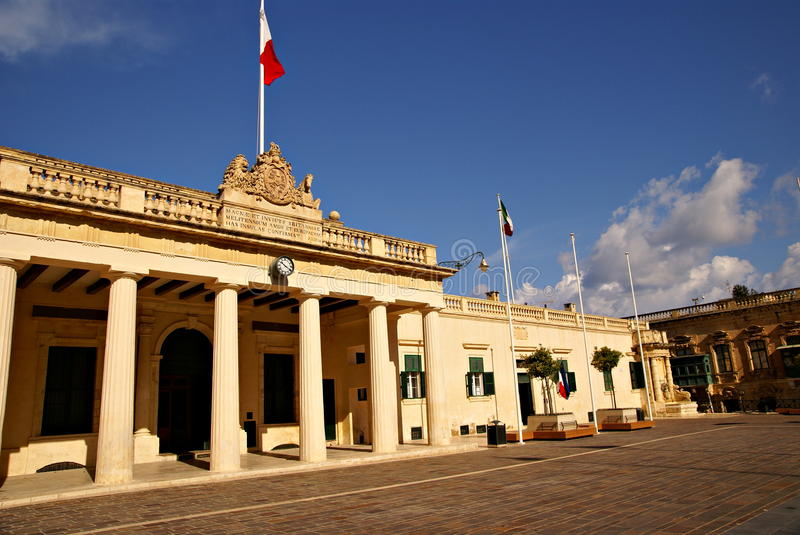 The Main Guard building and the Chancellery in the Pallace Square in Valletta, Island of Malta. Which originally housed the palace guards royalty free stock photo