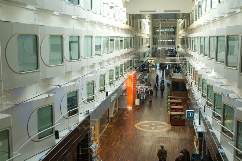 Main hall of large cruise ship royalty free stock images