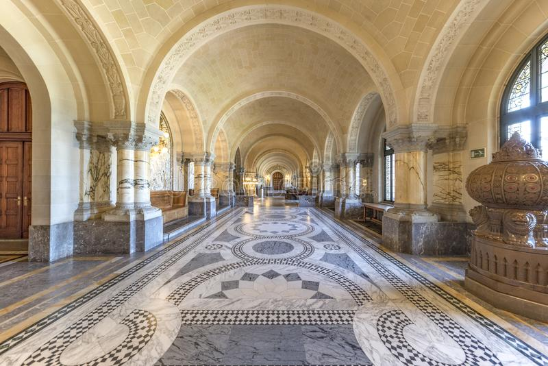 Main Hall of the Peace Palace. Decorated with golden lanterns with a marble staircase leading to the first at both side stock images