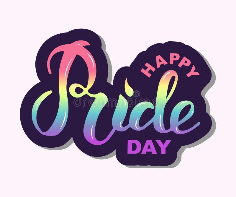 Main heureuse de Pride Day écrite le lettrage illustration de vecteur