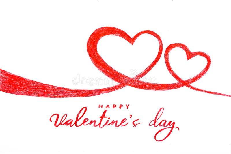 Main heureuse de Saint Valentin peignant le coeur deux illustration stock