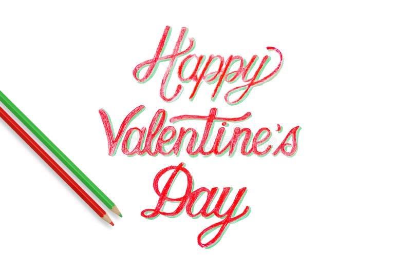 Main heureuse de Saint Valentin peignant le coeur deux illustration de vecteur