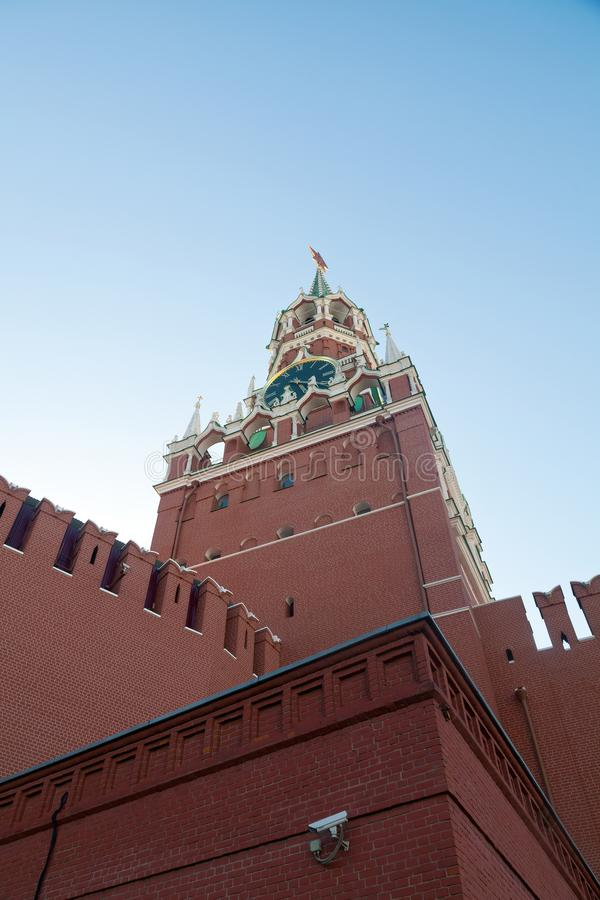 The main historical building in Moscow. Kreml tower with clock a royalty free stock images