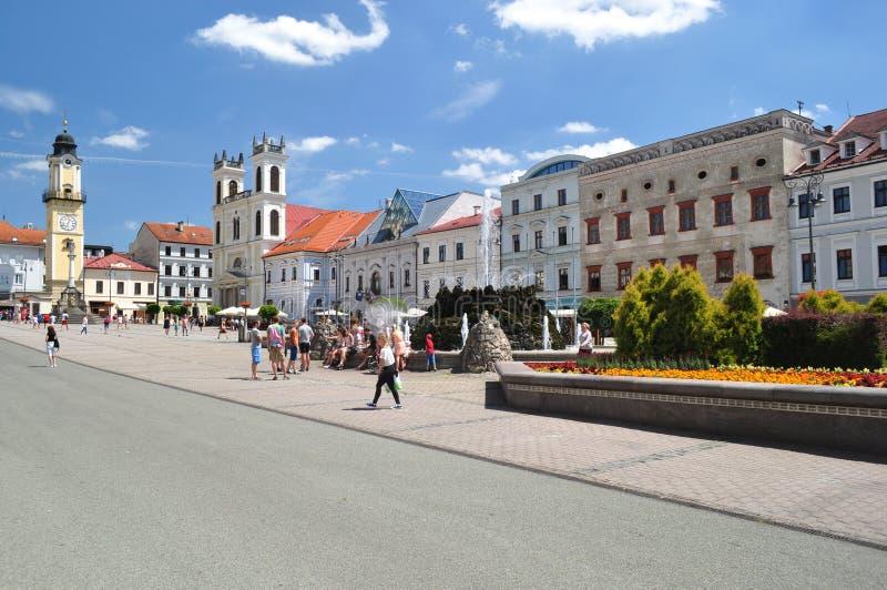 Main historical square in Banska Bystrica Slovakia stock photography