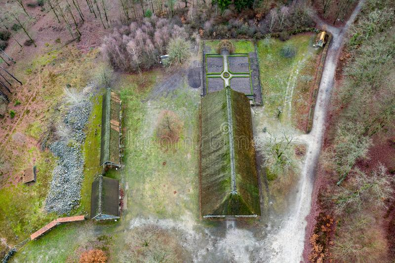 Main house in the open-air museum Hösseringen in the Lünebürger Heide near Suderburg from the air, with a geometrically. Arranged farm garden in front royalty free stock image