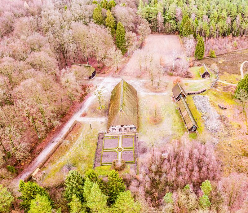 Main house in the open-air museum Hösseringen in the Lünebürger Heide near Suderburg from the air, with a geometrically. Arranged farm garden in front royalty free stock photography