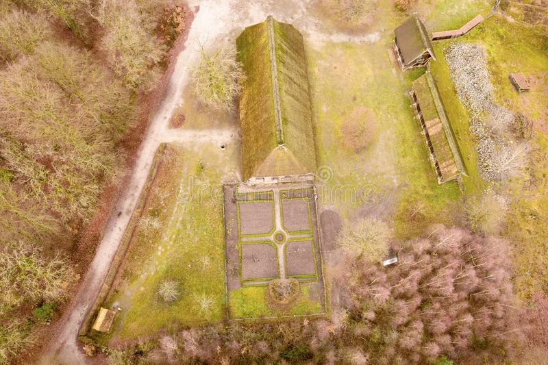 Main house in the open-air museum Hösseringen in the Lünebürger Heide near Suderburg from the air, with a geometrically. Arranged farm garden in front royalty free stock images