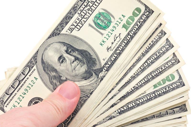 Main humaine avec l'argent images libres de droits