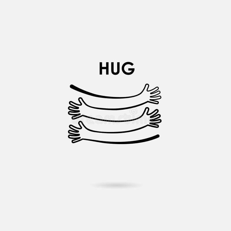 Main humaine avec le calibre de conception de logo de vecteur d'icônes de coeur Sig d'amour illustration libre de droits