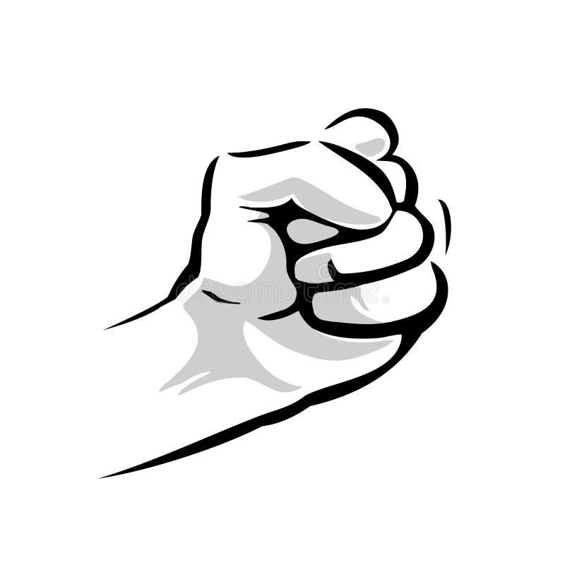 Main humaine avec une illustration gravée par vintage serrée de noir de vecteur de poing d'isolement sur un fond blanc Signe de m illustration stock