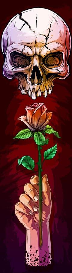 Main humaine blanche de bande dessinée avec le crâne et la rose illustration libre de droits