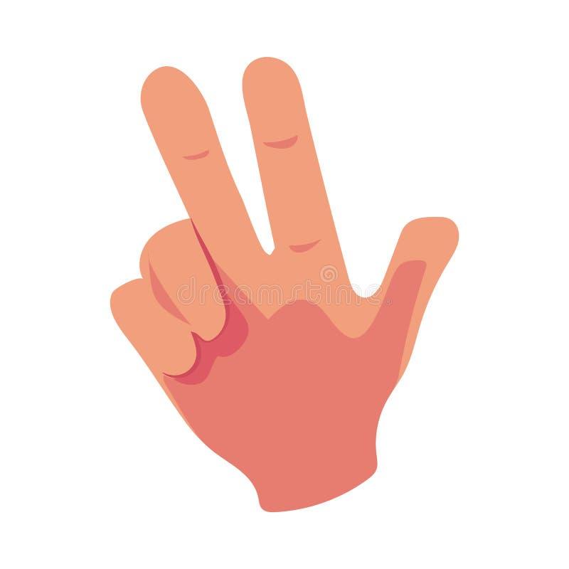Main humaine caucasienne montrant V pour le signe de victoire, symbole de triomphe illustration libre de droits