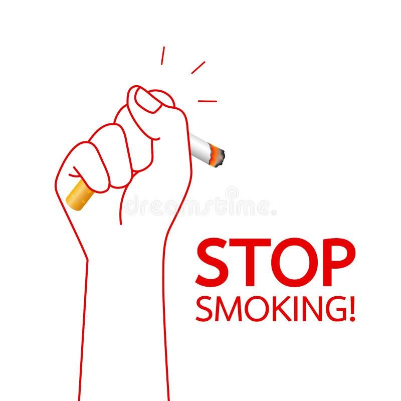 Main humaine ?crasant la cigarette Abandon du concept de tabagisme illustration stock