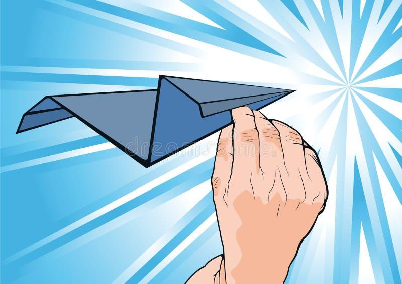 Main humaine de Cartooned tenant l'avion de papier illustration libre de droits