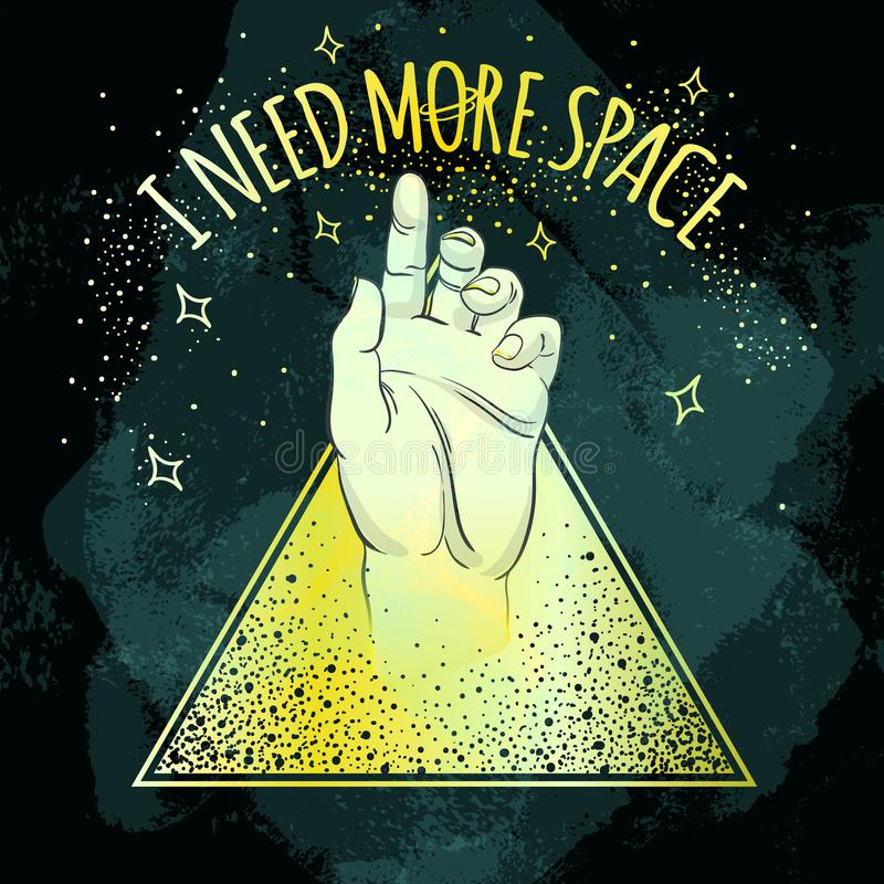 Main humaine dirigeant sur quelque chose le symbole de pyramide d'or d'intérieur J'ai besoin de plus d'espace Art à la mode de ve illustration stock