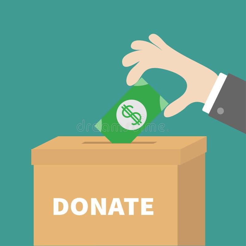 Main humaine mettant l'argent d'or de pièce de monnaie avec le symbole dollar dans la boîte en carton de papier de donation Conce illustration stock