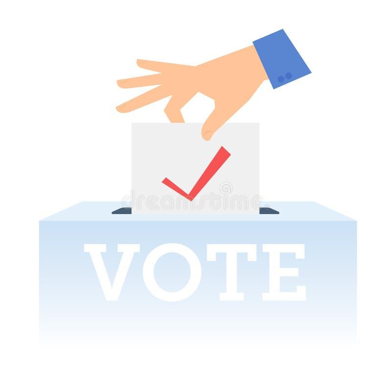 Main humaine mettant le bulletin de vote dans l'urne  illustration de vecteur