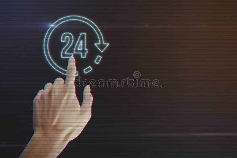 Main humaine pressant 24 heures d'icône photo stock