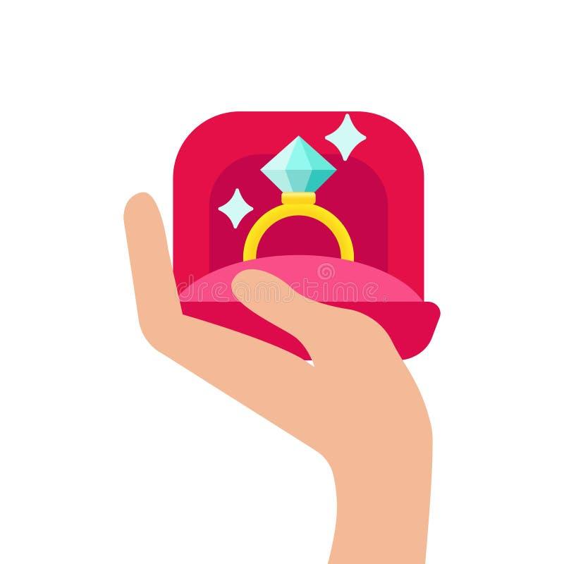 Main humaine tenant un boîte-cadeau avec la bague de fiançailles à l'intérieur sur le fond blanc Illustration de vecteur d'icône illustration de vecteur
