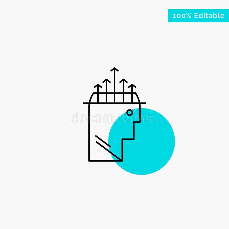 Main, hypnose, données, icône de vecteur de point de cercle de point culminant de turquoise de psychologie illustration de vecteur