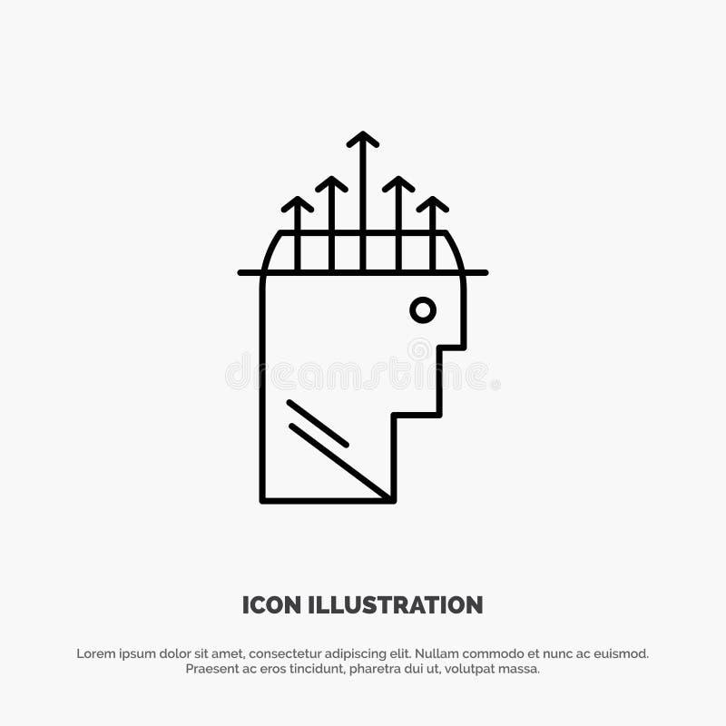 Main, hypnose, données, ligne vecteur de psychologie d'icône illustration libre de droits