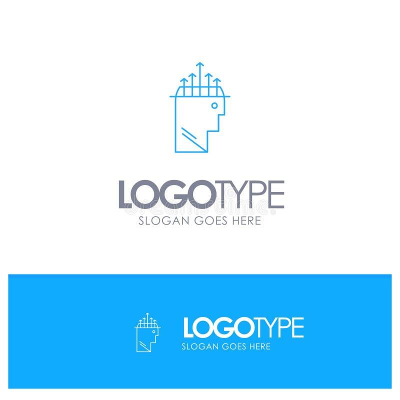 Main, hypnose, données, logo bleu d'ensemble de psychologie avec l'endroit pour le tagline illustration stock