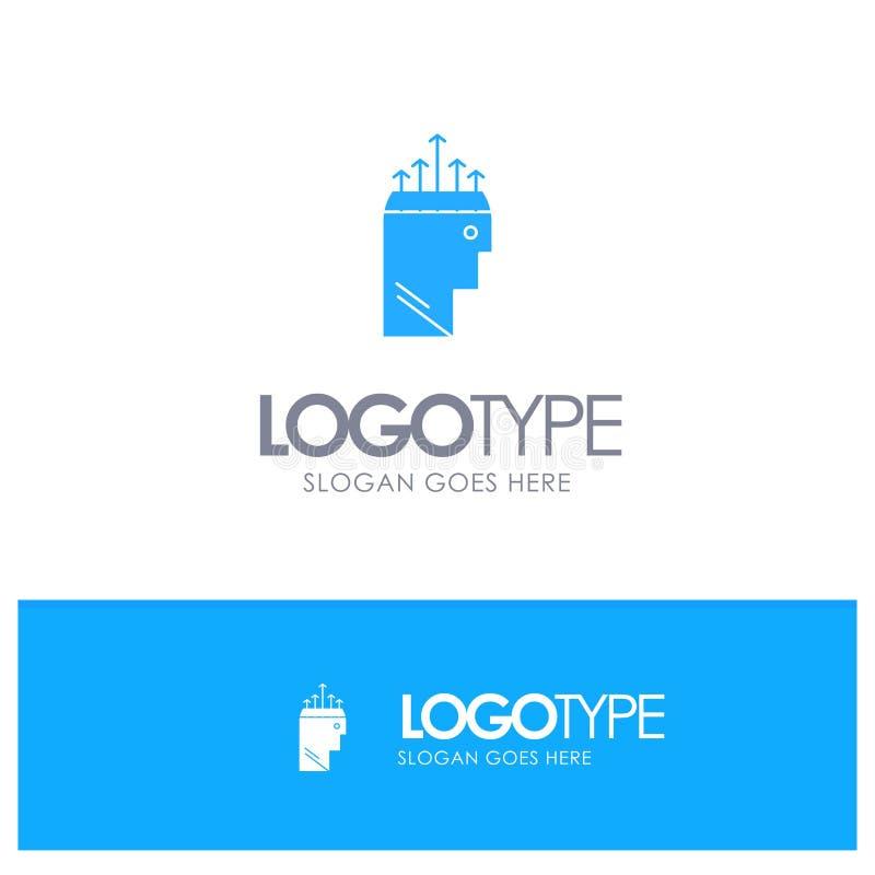 Main, hypnose, données, logo solide bleu de psychologie avec l'endroit pour le tagline illustration stock