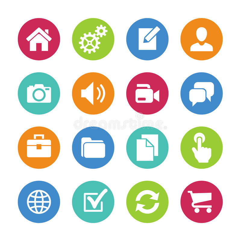 Main icons for website. Icons set. Main icons for website. Collection for web or infographics royalty free illustration