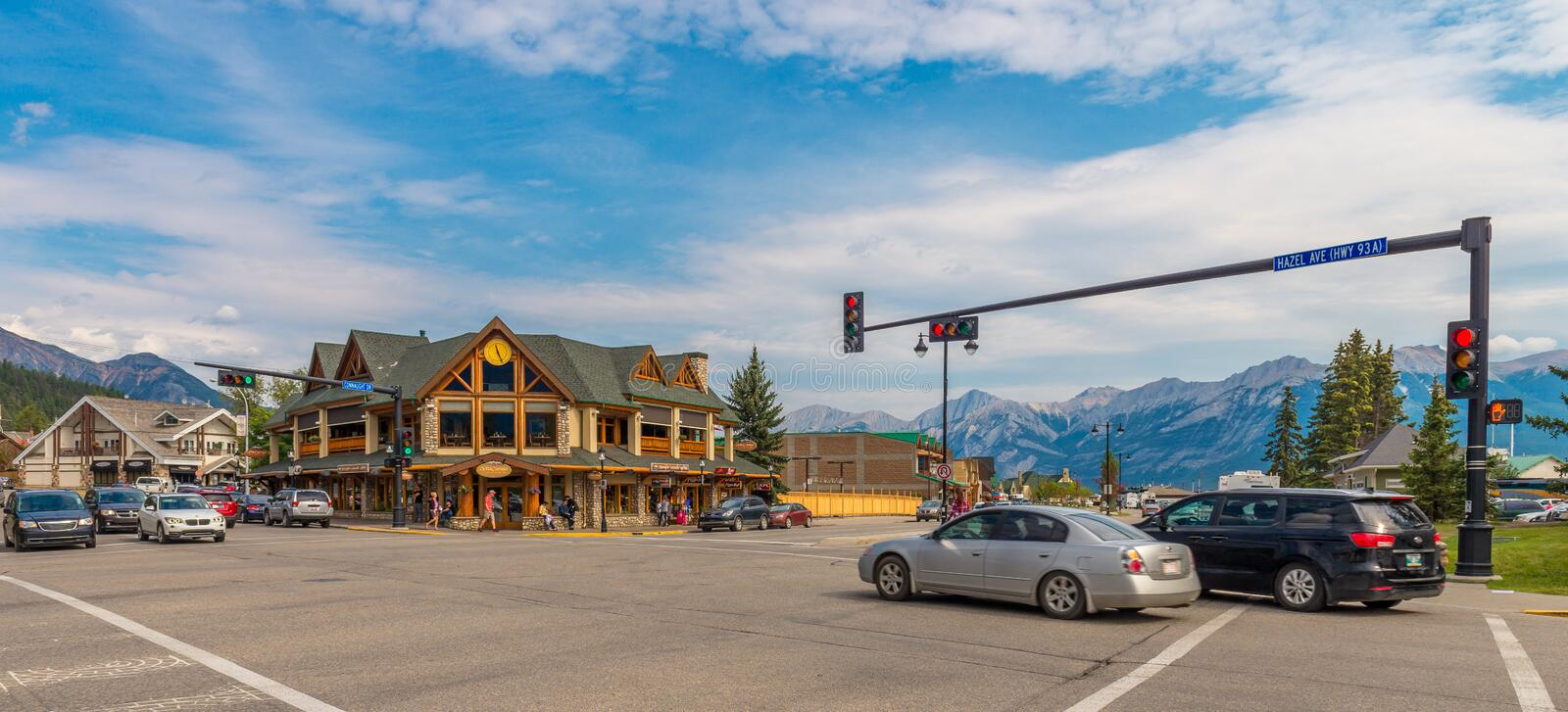 Main Intersection entering town of Jasper. The town of Jasper Alberta royalty free stock images