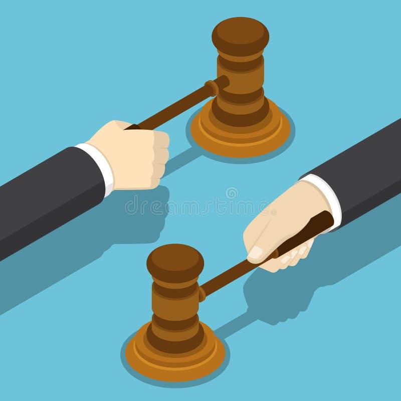 Main isométrique d'homme d'affaires avec le marteau de juge illustration stock
