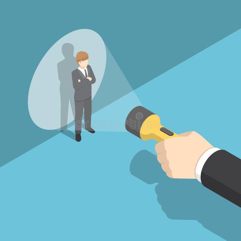 Main isométrique dirigeant la lampe-torche à l'homme d'affaires illustration libre de droits
