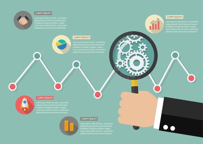 Main jugeant la loupe avec le graphique de marché boursier infographic illustration de vecteur
