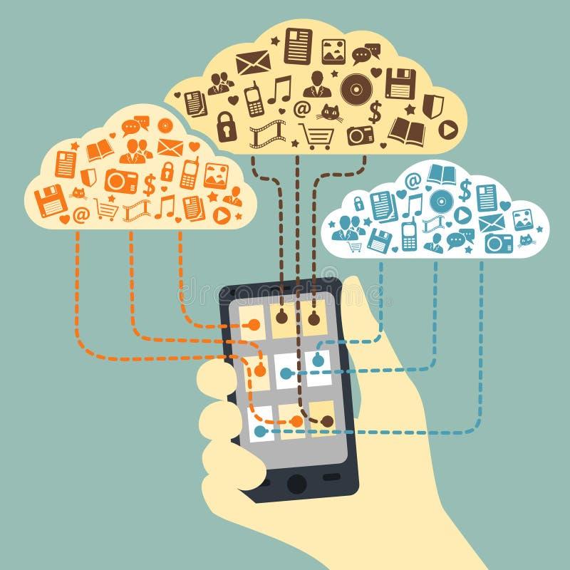 Main jugeant le smartphone relié au nuage illustration stock