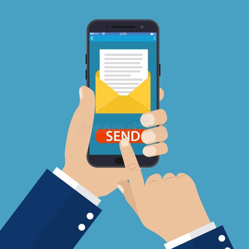 Main jugeant le téléphone intelligent disponible avec l'email illustration stock