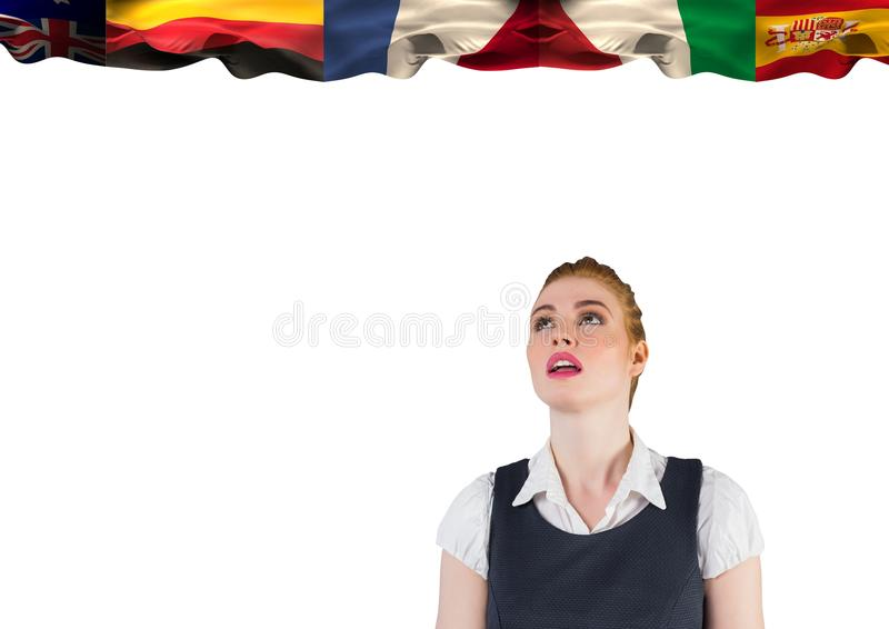 main language flags over young businesswoman. white background royalty free stock image